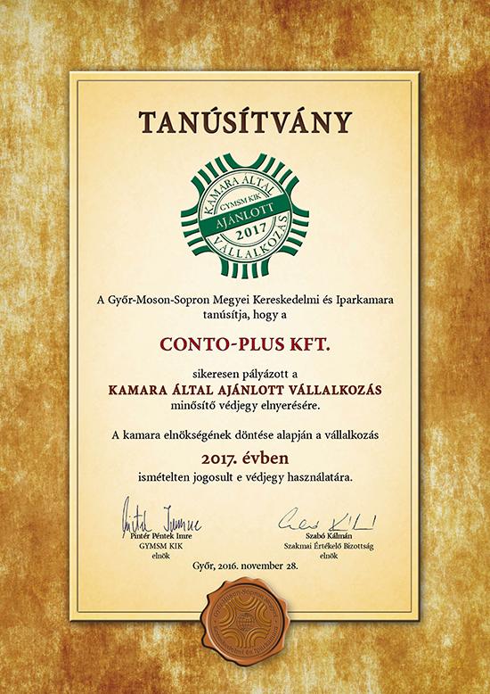 CONTO-PLUS Kft. - Tanúsítvány